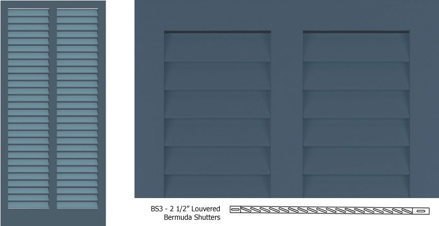 Bs3 bermuda shutter profile bermuda with 2 1 2 louvers timberlane for Bermuda style exterior shutters