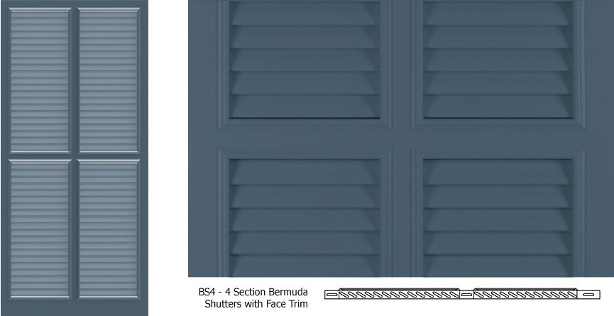 Bs4 bermuda shutter profile 4 louver sections with trim timberlane for Bermuda style exterior shutters