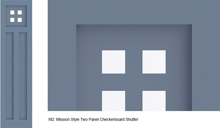 M2 Mission Style Two Panel Checkerboard Shutter