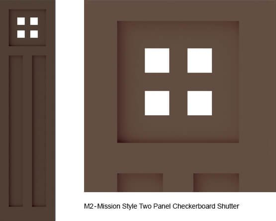 M2 mission style shutter two panel checkerboard design for Mission style shutters
