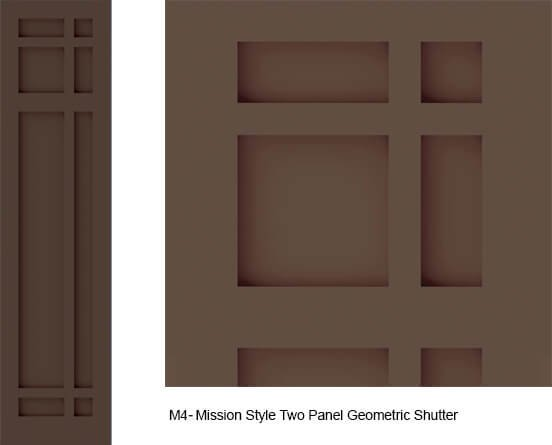 M4 mission style shutter two panel geometric design for Mission style shutters