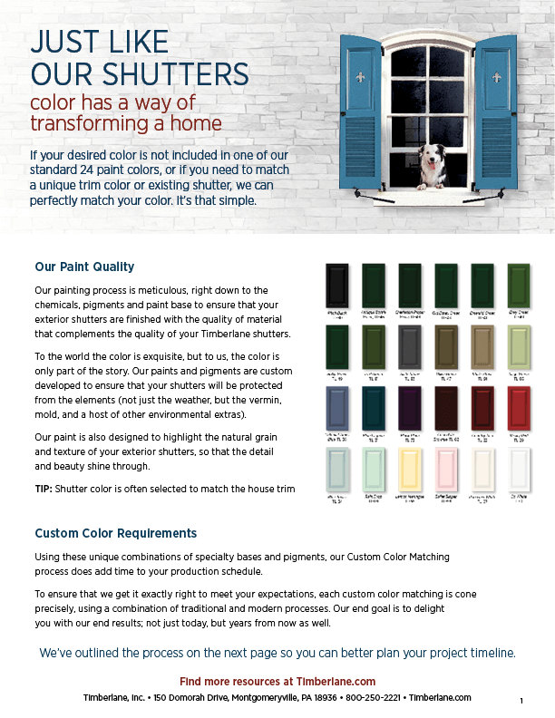 Custom Color for Shutters | Custom Color Matching Process | Timberlane