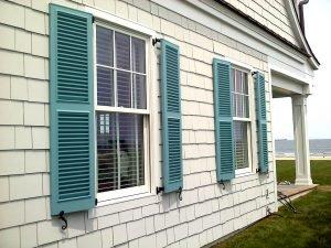Blue Fixed Louver Beach House Window Shutters Part 82