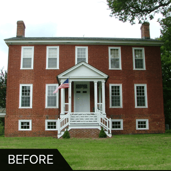 Before and after exterior shutters shutter gallery for Brick houses without shutters