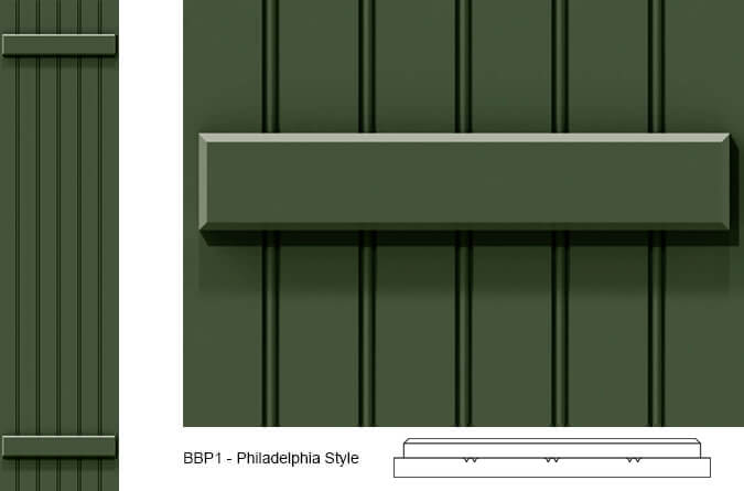 Close-up and cross-section images of green board and batten shutter profile design BBP1, a Philadelphia style board and batten shutter.