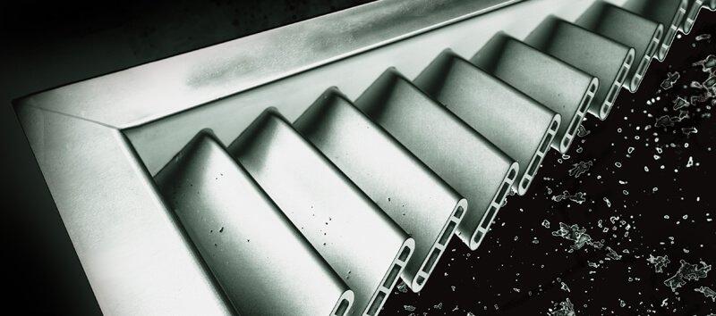 An aluminum Resilience Timberlane shutter cross section