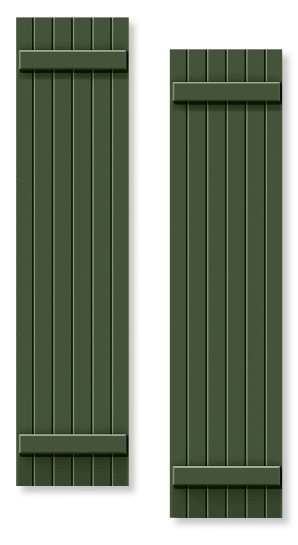Green board and batten shutter rendering