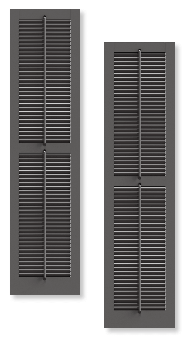 Brown operable louver shutter rendering