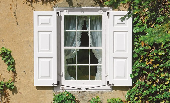 Timberlane's exterior shutter configurations alter the placement of the rails for a custom look