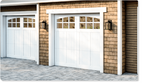 image of a clear glass option for Timberlane's carriage garage door styles