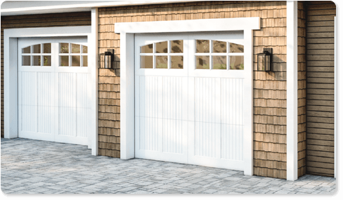 image of an insulated glass option for Timberlane's carriage garage door styles