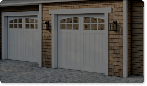 image of a tinted glass option for Timberlane's carriage garage door styles