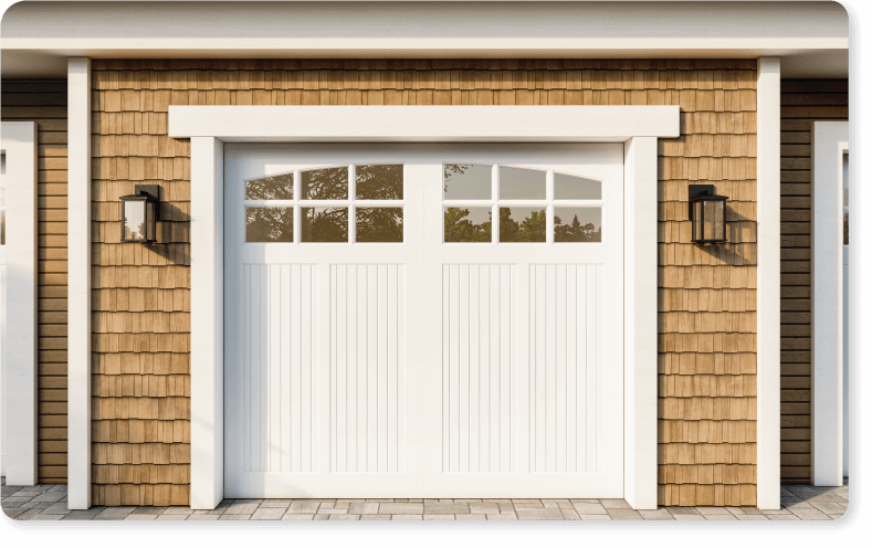 Timberlane only offers custom-sized exterior shutters and garage doors for a picture-perfect fit