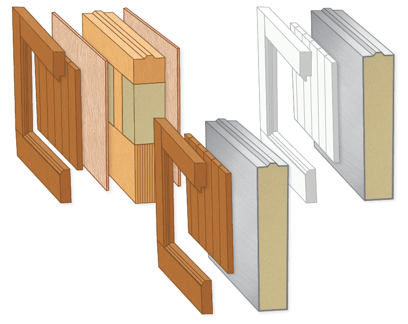detailed illustration of each of Timberlane's garage door material construction methods