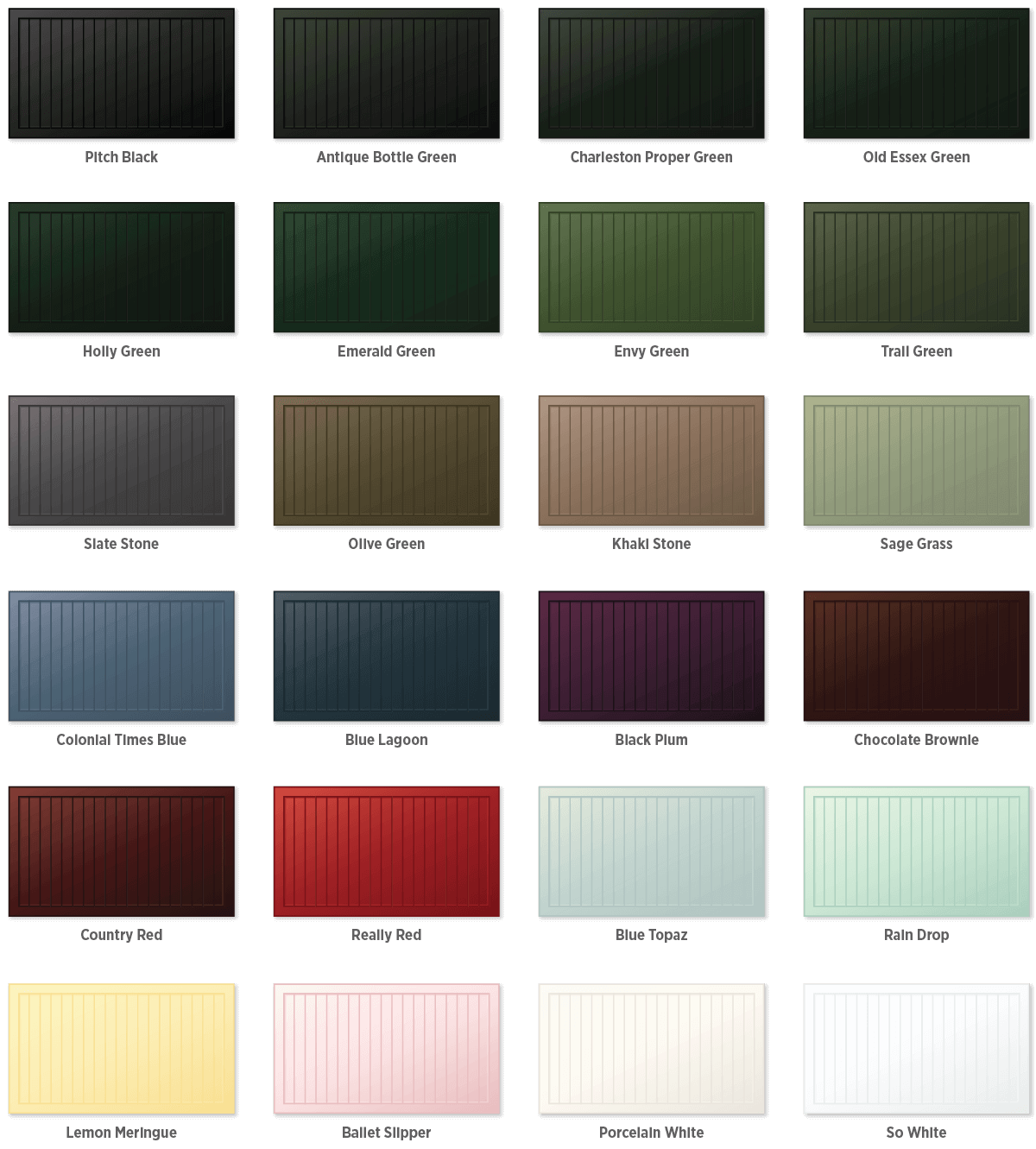 Timberlane offers 24 premium paint options that are expertly applied to our garage doors