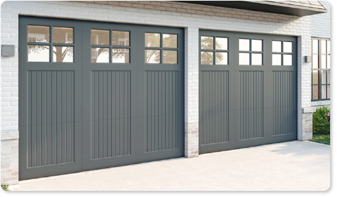 image of an insulated glass option for Timberlane's trifold garage door styles